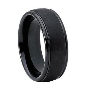 Brushed Black Tungsten & Ladder Edge Ring (8mm).