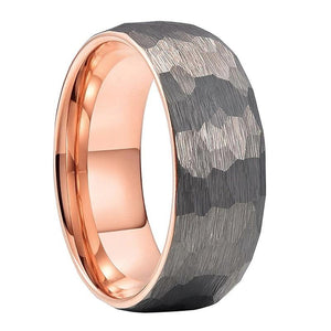 Silver and Rose Gold Hammered Tungsten Ring (8mm).