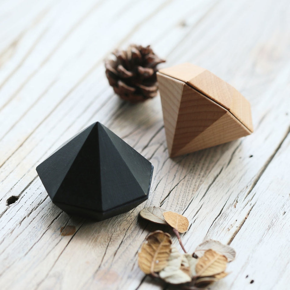 Wooden Diamond Shaped Ring Box