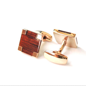 Red wood & Rose Gold Cufflinks.
