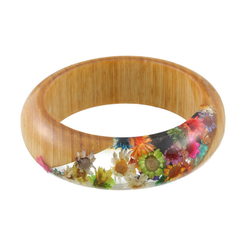 Rainbow Daisy Wood & Resin Bangle