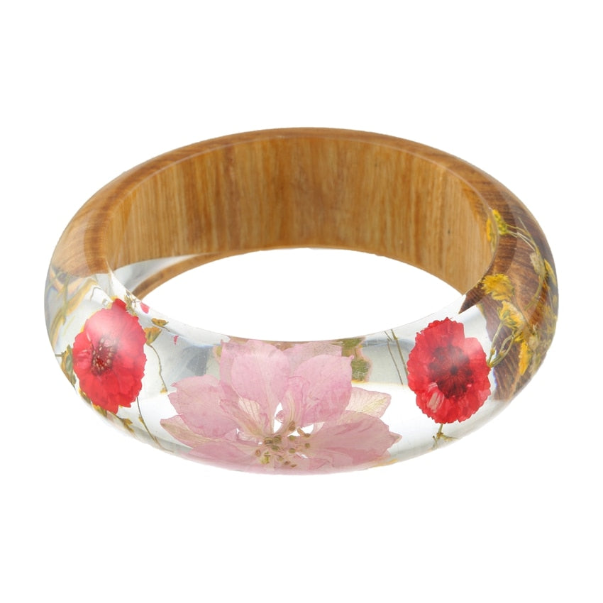 Pink Flower Wood & Resin Bangle