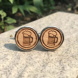 Beer Jugs Cufflinks Laser Engraved Wood.