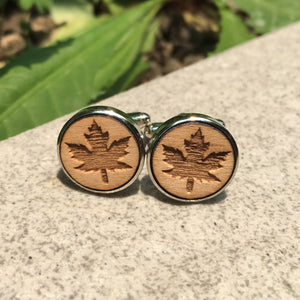 Canadian Maple Leaf Cufflinks Laser Engraved Wood.