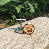 The Bearded Man Cufflinks Laser Engraved Wood