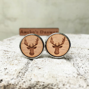 Deer Cufflinks Laser Engraved Wood.