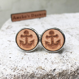 Anchor Cufflinks Laser Engraved Wood.
