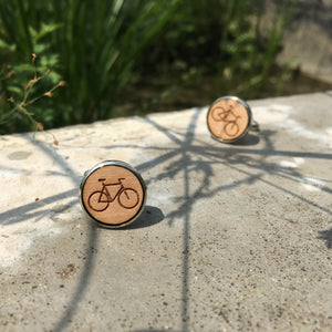 Bicycle Cufflinks Laser Engraved Wood