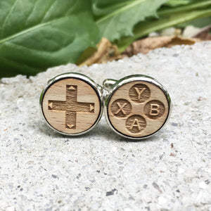 Controller Cufflinks Laser Engraved Wood