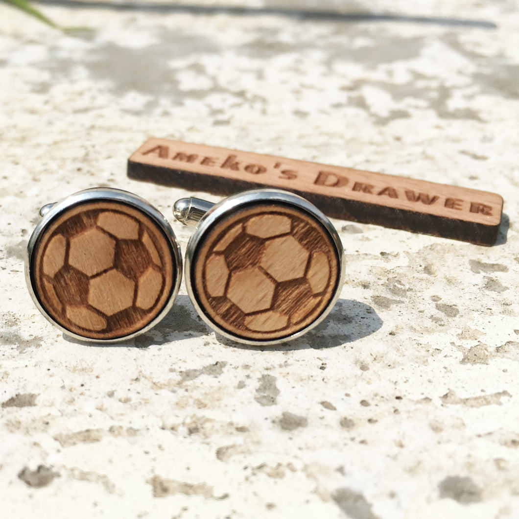 Football Cufflinks Laser Engraved Wood.