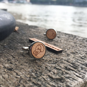 Boxer Cufflinks Laser Engraved Wood