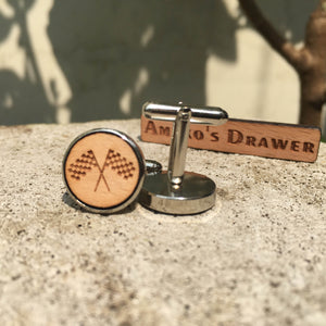 Racer Cufflinks Laser Engraved Wood.
