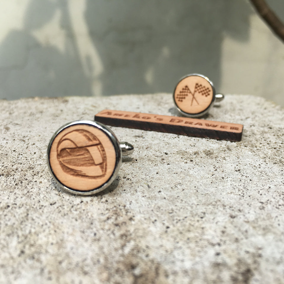Racer Cufflinks Laser Engraved Wood