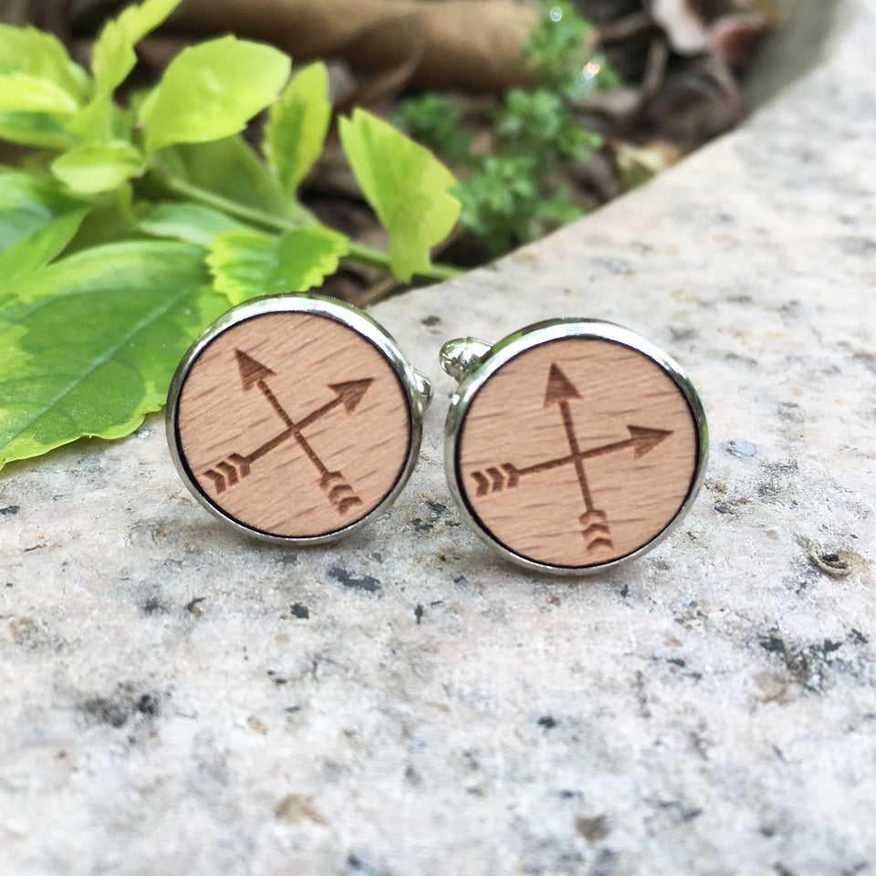 Arrow Cufflinks Laser Engraved Wood