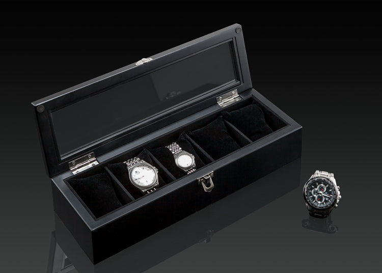 Wood Watch Display Box (5 slots + lockable)