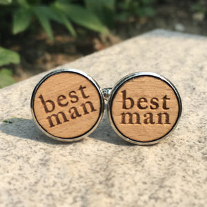 Best Man Cufflinks Laser Engraved Wood