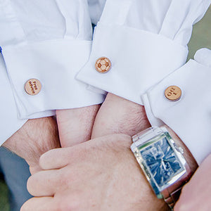 Best Man Cufflinks Laser Engraved Wood.