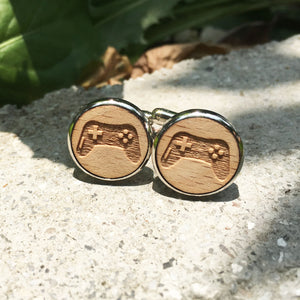 Gamer Cufflinks Laser Engraved Wood.