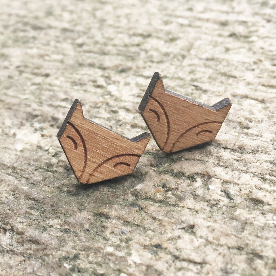 Foxy Stud Earrings Laser Engraved Wood