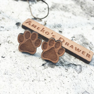 Dog Paw Stud Earrings Laser Engraved Wood
