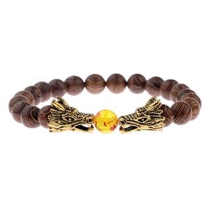 Dragon Wood Bead Bracelet