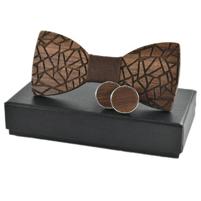 Fracture Wood Bow Tie Set.