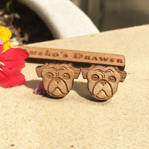 Pug Stud Earrings Laser Engraved Wood