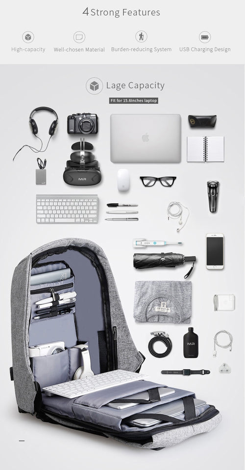 Black & Grey Secure Back Pack (15 inch Laptop + USB Charging)