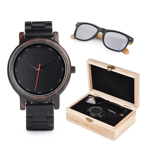 Mens Wood Watch & Sunglasses Gift Set