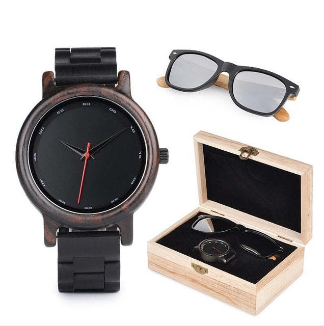Mens Wood Watch & Sunglasses Gift Set.