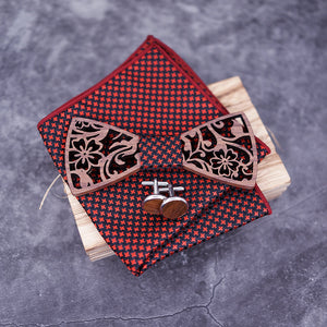 Hollow Floral Wood Bow Tie Set