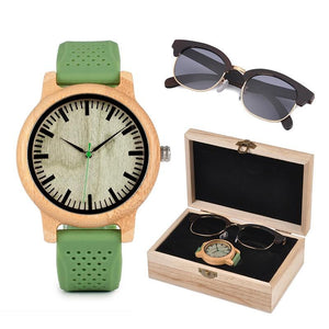 Womens Bamboo Watch & Luxury Sunglasses Gift Set (Personalised Box)