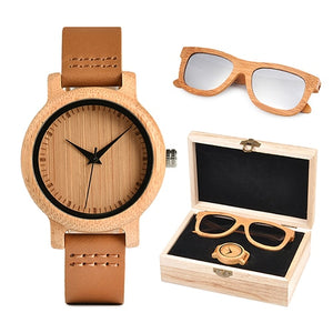 Womens Bamboo Watch & Sunglasses Gift Set (Personalised Box)