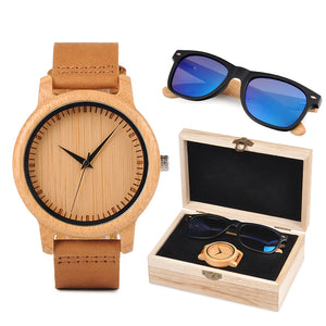 Minimalist Bamboo Watch & Sunglasses Gift Set (Personalised Box)