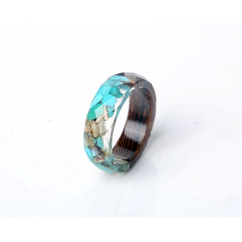 Geometric Wood & Blue Stone Fashion Ring