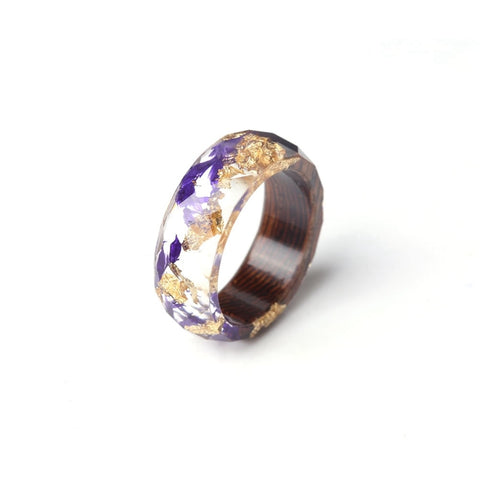 Geometric Wood, Purple Flower & Gold Fashion Ring
