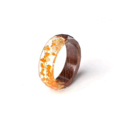 Geometric Wood & Yellow Fashion Ring