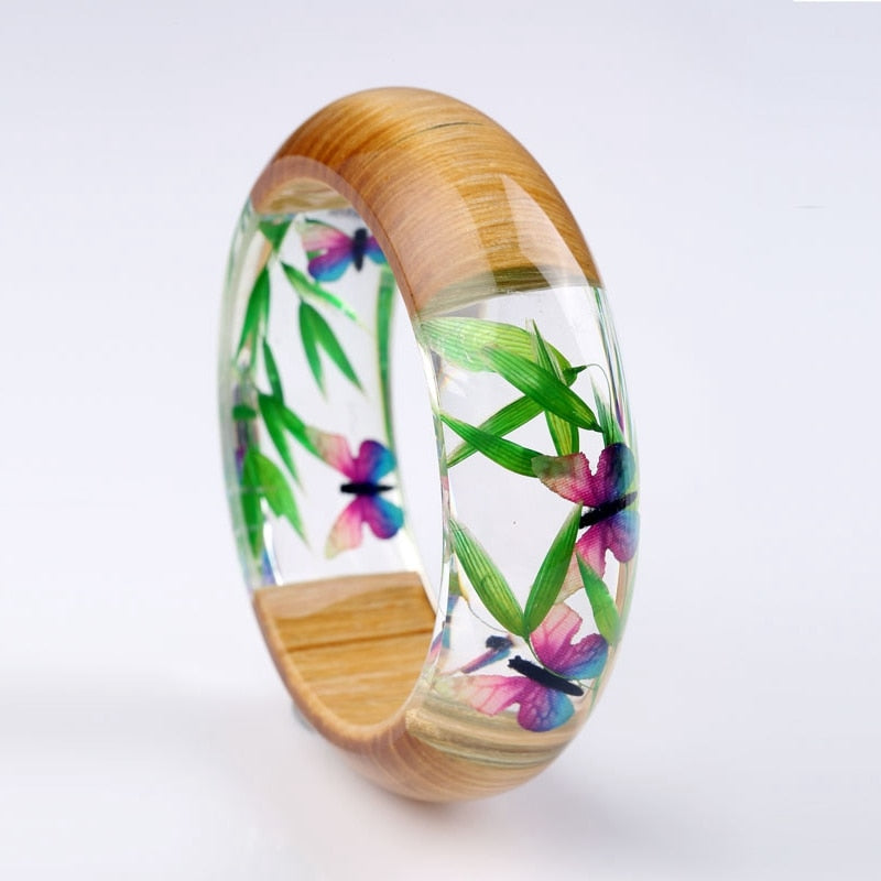 Butterfly & Bamboo Leaf Wood & Resin Bracelet