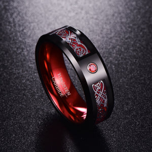 Red Zircon Tungsten Carbide Ring (8mm)