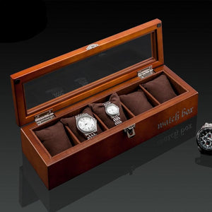 Wood Watch Display Box (5 slots + lockable).