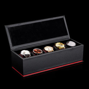 Carbon Fiber & Leather Watch Box (5 slots).