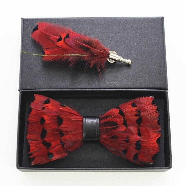 Raven Feather Bow Tie Set