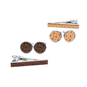 Geometric Wood Tie Bar & Cuff Links Set