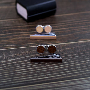 Original Wood Tie Bar & Cuff Link Set.