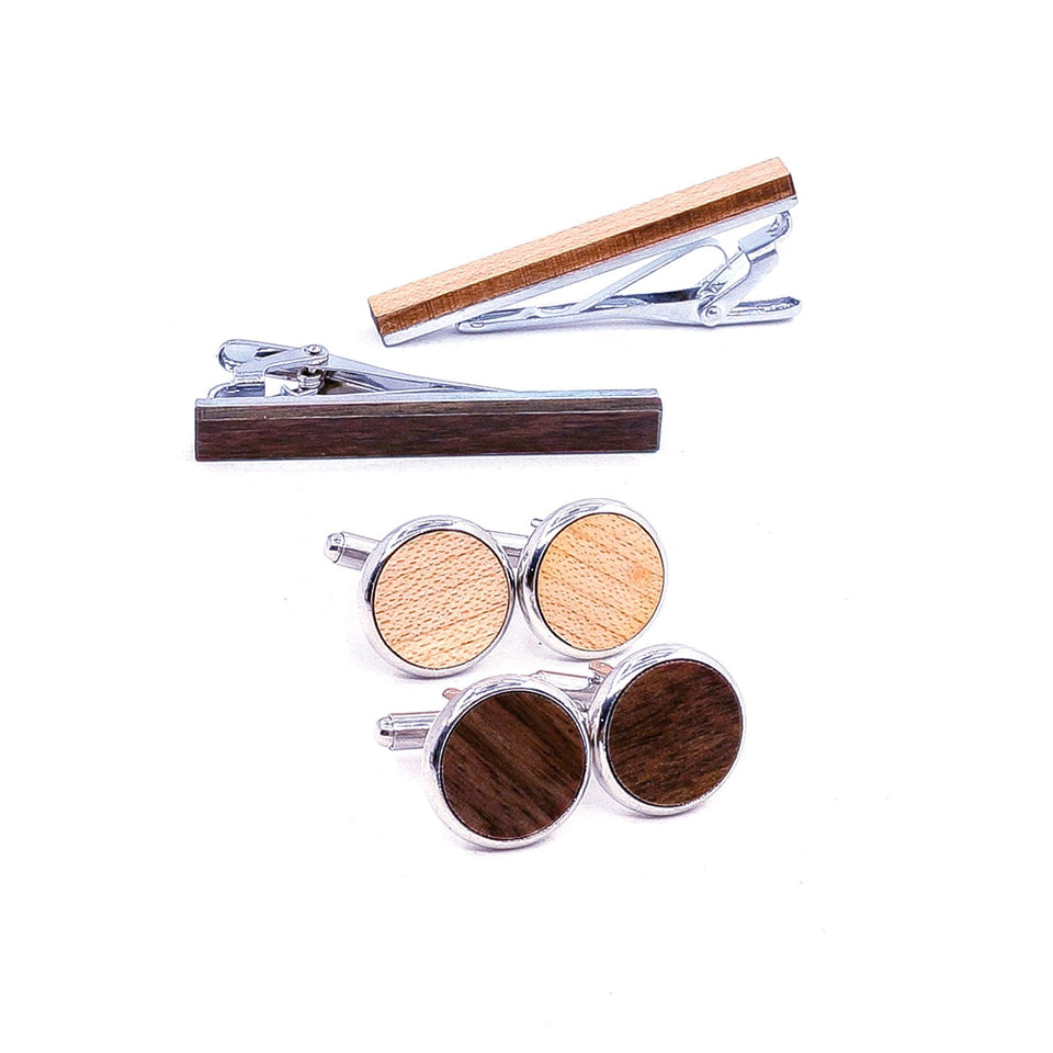 Original Wood Tie Bar & Cuff Link Set