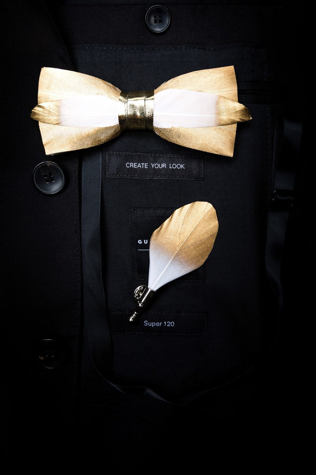 Ophir Feather Bow Tie Set