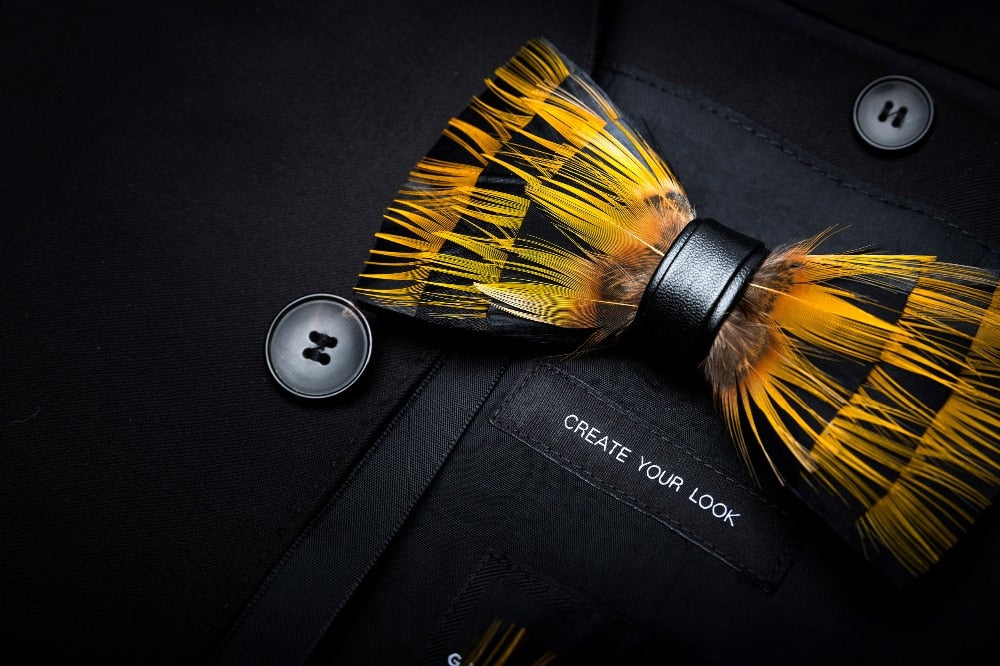Trinidad Feather Bow Tie Set.