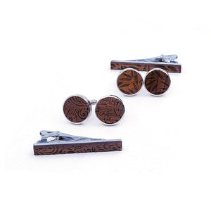 Leaf Wood Tie Bar & Cuff Links Set.