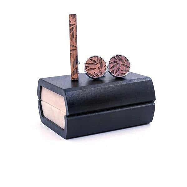 Leaf Wood Tie Bar & Cuff Links Set