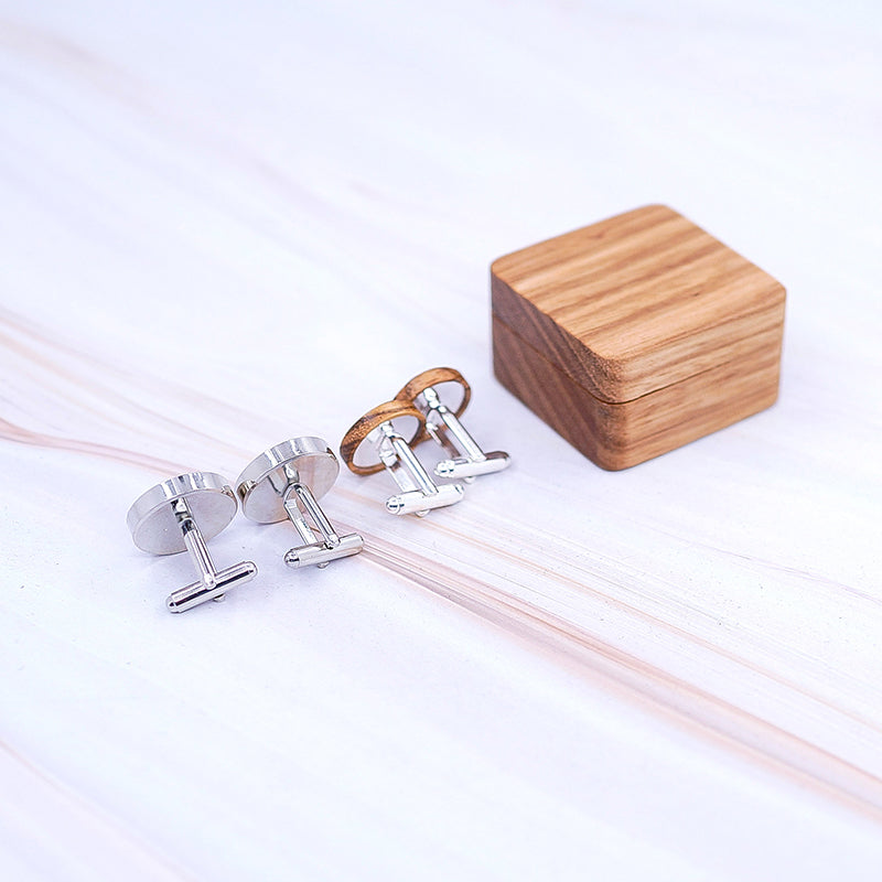 Luxury Wood Cufflinks with Unique Magnetic Wood Box.